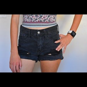 Black Distressed High Waisted Hollister Shorts